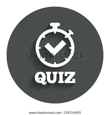 Quiz timer sign icon. Questions and answers game symbol. Gray flat button with shadow. Modern UI website navigation. Vector - stock vector