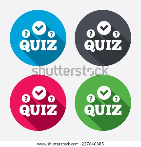 Quiz with check and question marks sign icon. Questions and answers game symbol. Circle buttons with long shadow. 4 icons set. Vector - stock vector