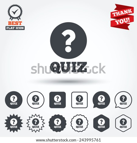 Quiz with question mark sign icon. Questions and answers game symbol. Circle, star, speech bubble and square buttons. Award medal with check mark. Thank you. Vector - stock vector