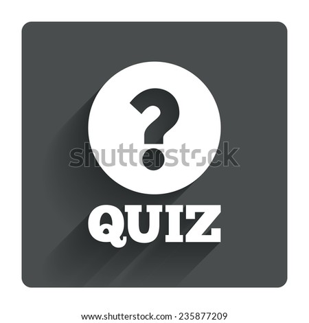 Quiz with question mark sign icon. Questions and answers game symbol. Gray flat square button with shadow. Modern UI website navigation. Vector - stock vector