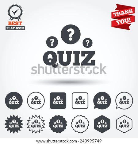 Quiz with question marks sign icon. Questions and answers game symbol. Circle, star, speech bubble and square buttons. Award medal with check mark. Thank you. Vector - stock vector