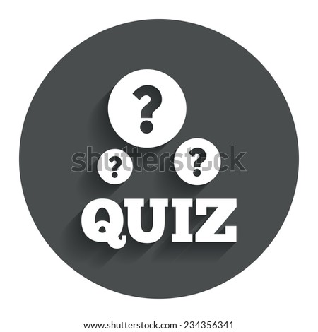 Quiz with question marks sign icon. Questions and answers game symbol. Gray flat button with shadow. Modern UI website navigation. Vector - stock vector