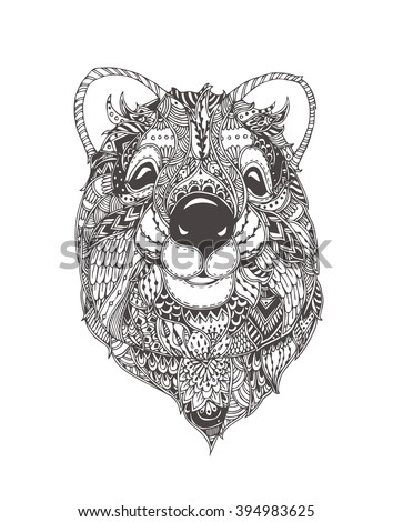 Quokka. Hand-drawn quokka with ethnic floral doodle pattern. Coloring page - zendala, design for spiritual relaxation for adults, vector illustration, isolated on a white background. Zen doodles. - stock vector