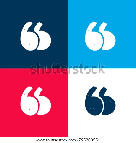 quotation mark four color material minimal stock vector 795200551