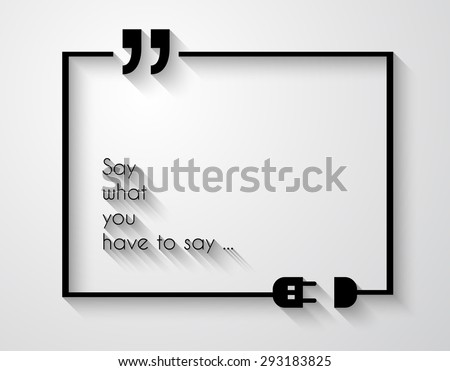 Quotation Mark Frame with Flat style and space for text. Modern template layout for phrases citation, famous quotations, ideas, advertising, printed material and so on. - stock vector