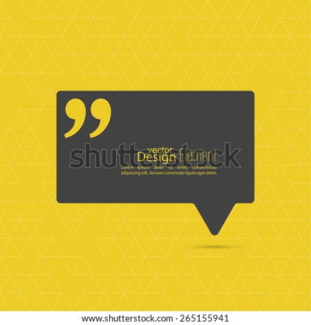 Quotation Mark Speech Bubble and Chat symbol. - stock vector