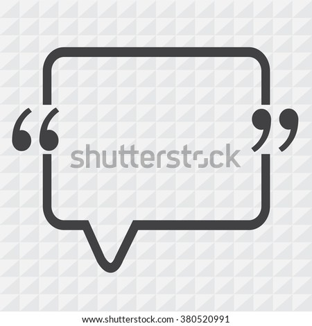 Quotation Mark Speech Bubble sign icon Illustration design - stock vector