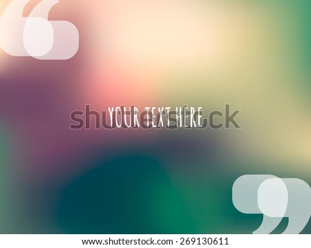 Quotation marks illustration. Vector blurred sunset forest background. Place for your text - stock vector