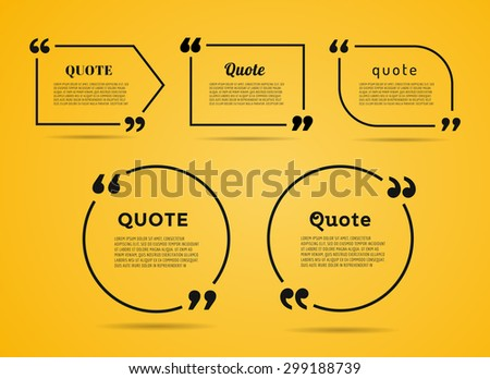 Quote blank template. Quote bubble. Empty template. Circle business card template, paper sheet, information, text. Print design. Quote form. Template vector set. Yellow poster, yellow quote box blank - stock vector
