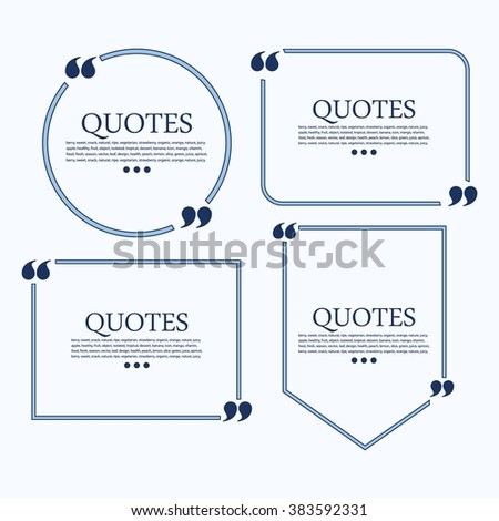 Quote blank template. Quote bubble. Empty template. Circle business card template, paper sheet, information, text. Quote form. Template vector set - stock vector