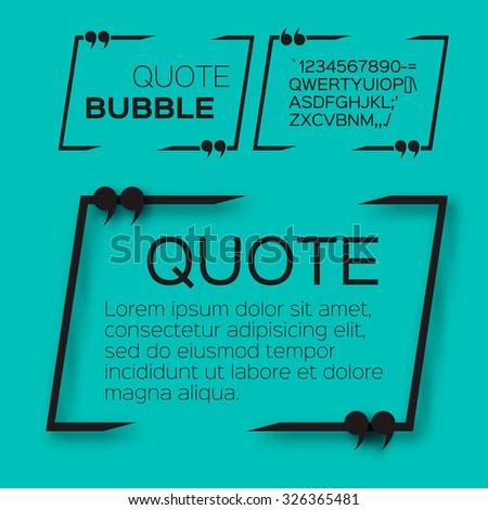 Quote bubble. Speech bubble. Citation text box template. Quote blank. - stock vector