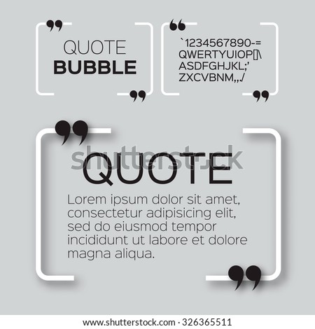 Quote bubble. Speech bubble. Citation text box template. Quote blank. - stock vector