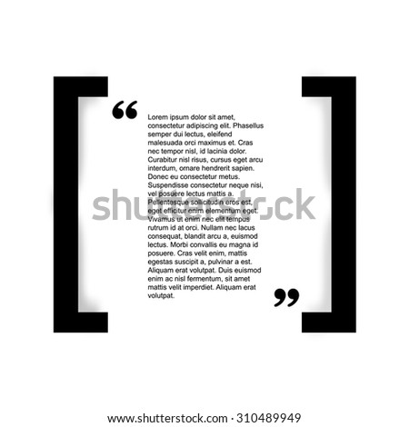 Quote bubble Typographical Poster Template. Black and white color version. - stock vector