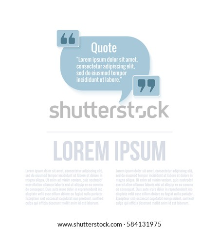 Quotation Mark Speech Bubble Quote Sign Stock Vector 250809205