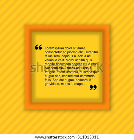 Quote citation Typographical Poster Template. Light yellow color version.  - stock vector