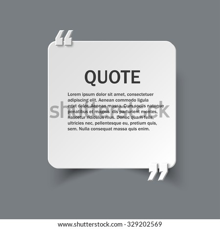 Quote form on square paper card with commas, vector design template