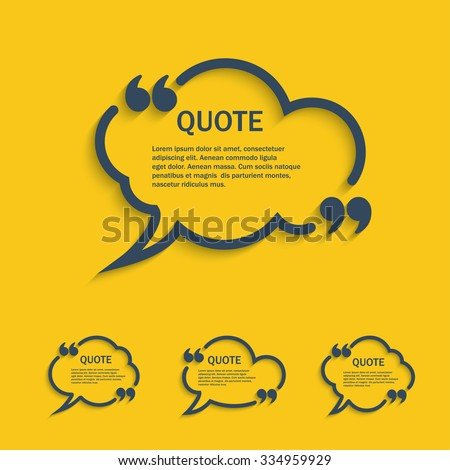Quote line cloud speech bubbles with commas set, vector template