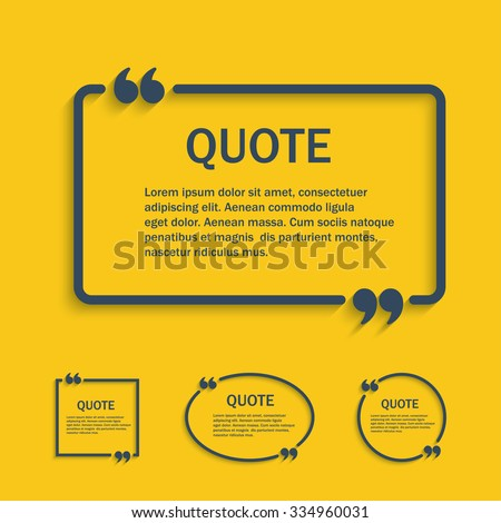 Quote line text box with commas set , vector template - stock vector