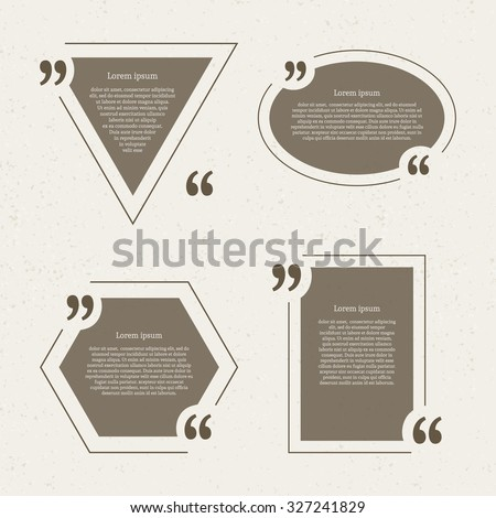 Quote mark speech bubbles set. Empty quote blank citation template. Four different design element for business card, paper sheet, information, note, message, motivation, comment. Vector illustration. - stock vector