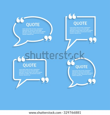 Quote outline speech bubbles with commas set, vector template