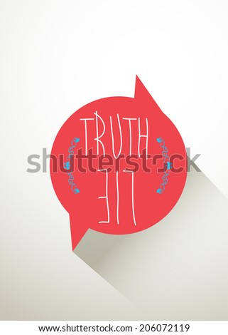 "Quote Typographic Background ""truth & lie"", Eps 10 - stock vector"