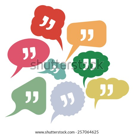 Quote vector icons in speak bubbles - stock vector