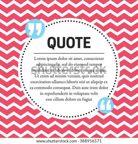 Quotes Design Template Chevron Background Stock Vector 388956571 ...
