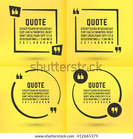 Quotes template set. Quote bubble set. Quotes square. Quote form. Quotes box template. Paper yellow memo sticker background. Vector illustration. - stock vector