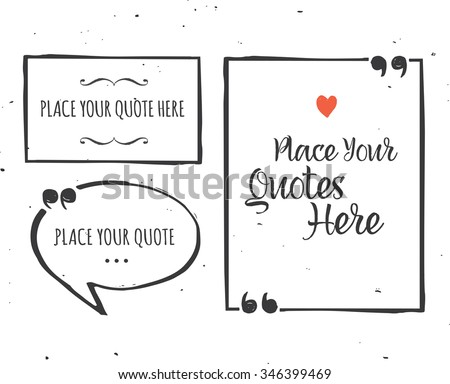 Quotes templates - hand drawn black and white set - stock vector