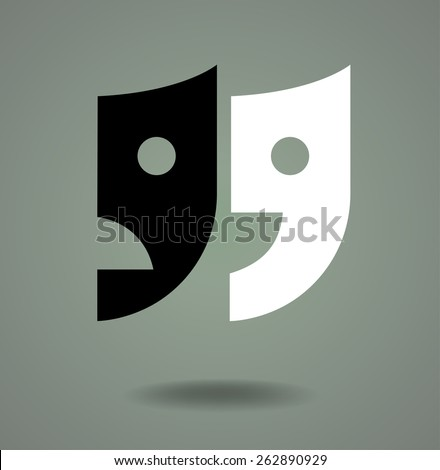 Quotes, Theater masks logo design - stock vector