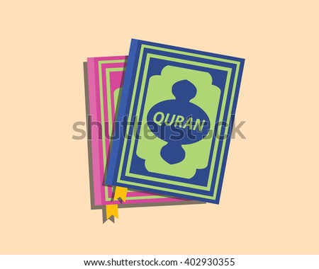 quran islam muslim books with flat style vector - stock vector