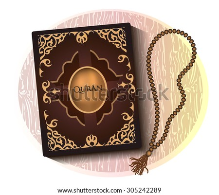 Quran with brown cover and wooden rosary beads top view