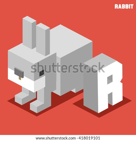 R for rabbit. Animal Alphabet collection. vector illustration