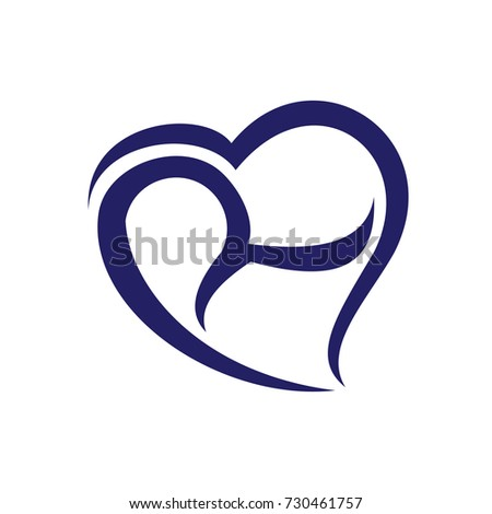 R Initial Love Logo Vector