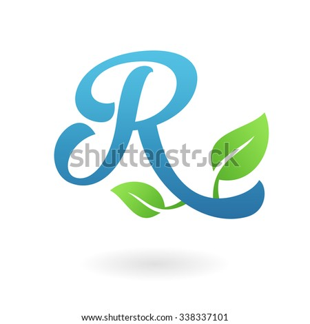 R letter business logo design template. Abstract calligraphic text vector elements for corporate identity emblem, label or icon of eco friendly company - stock vector