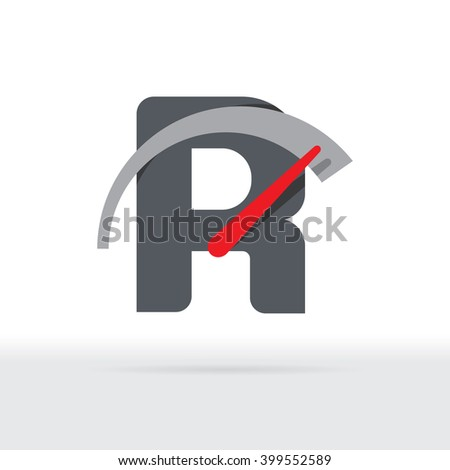 R Letter Car Speedometer, B Letter Meter Logo - stock vector