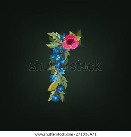 R letter. Flower  alphabet. Colorful font. Lowercase.  Vector illustration. - stock vector