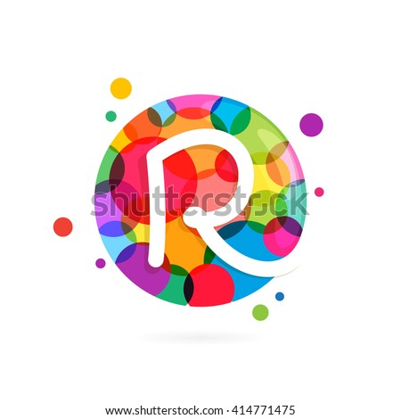 R letter logo in circle with rainbow dots. Font style, vector design template elements for your application or corporate identity. - stock vector