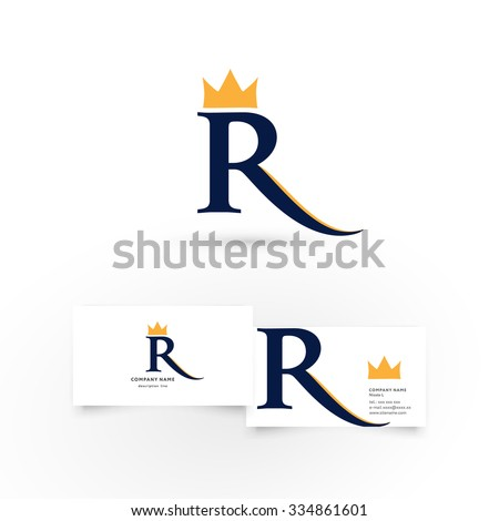 R letter crown modern icon design stock vector hd royalty free r letter with crown modern icon design logo element with business card template best thecheapjerseys Gallery