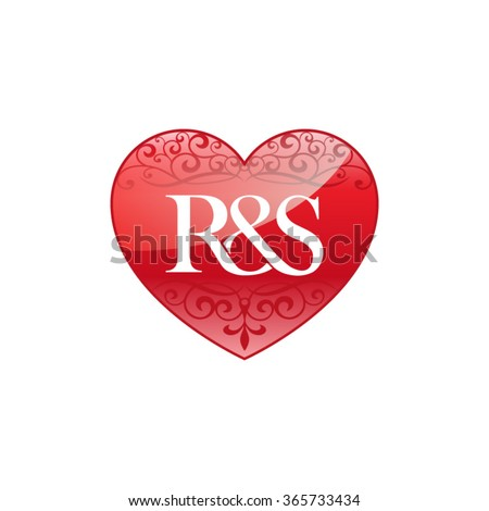 Rs Initial Letter Logo Ornament Heart Stock Vector ...