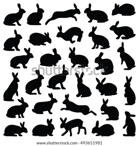 Rabbit and Hare Easter collection - vector silhouette