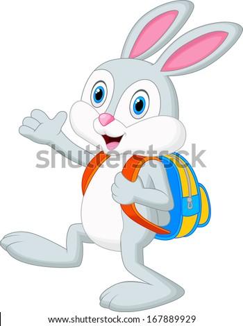 Rabbit cartoon with backpack - stock vector