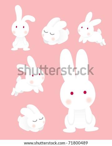 Rabbit characters set - stock vector