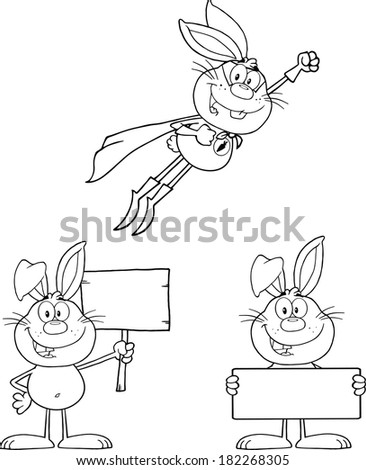 Rabbit Coloring Cartoons 2. Set Vector Collection - stock vector