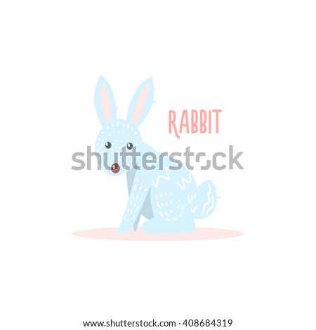 Rabbit Drawing For Arctic Animals Collection Of Flat Vector Illustration In Creative Style On White Background - stock vector