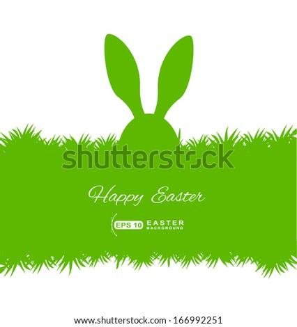 rabbit ears in grass Easter card  - stock vector