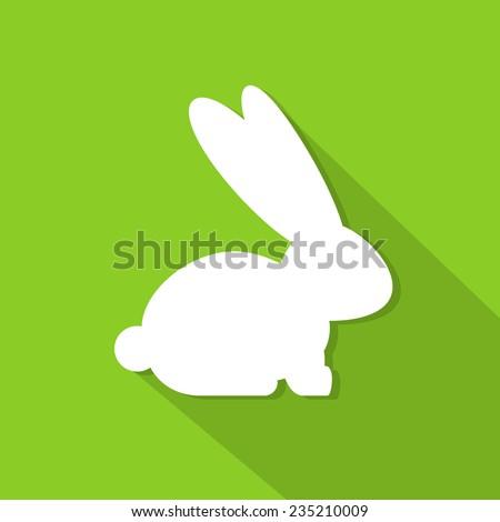 rabbit flat icon bunny silhouette flat design vector illustration - stock vector