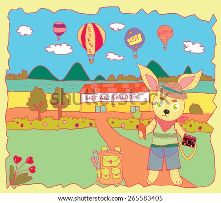 rabbit going to travel in hot air balloon
