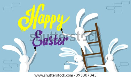 Rabbit Group Standing On Step Ladder Hold Brush Paint Happy Easter On Wall Holiday Banner Greeting Card Vector Illustration - stock vector