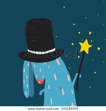 Rabbit in Black Hat Doing Tricks with Magic Wand. Colorful dark magical illustration for kids greeting card or holiday invitation. - stock vector